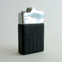Vintage Lighter, Black Faux Alligator Skin Lighter, Flare Lighter, St Louis Gas Lighters, Collectible Lighter, Pocket Lighter, Gift for Him