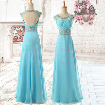 scoop Rhinestones  Chiffon Floor-length prom dresses 2014/Cocktail dresses/vintage dresses/evening dress on sale/gatsby dress formal/x012