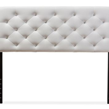 Baxton Studio Viviana Modern and Contemporary White Faux Leather Upholstered Button-tufted Queen Size Headboard  Set of 1
