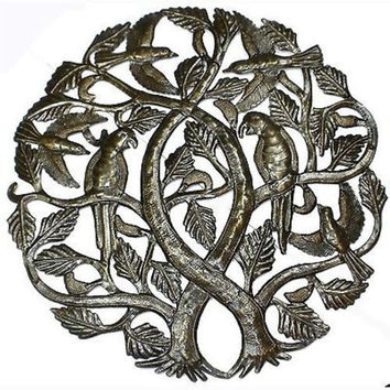 Tree of Life with Parrots 24-inch Metal Art - Croix des Bouquets