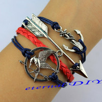 Arrows bracelet & hunger game anchor antique silver pendants, Marine rope and red woven bracelets, character charm gift