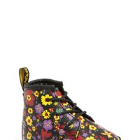 Infant Girl's Dr. Martens Flower Print Leather Crib Bootie,