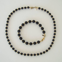 MONET Black Bead Necklace Goldtone Spacers Matching Bracelet Set Vintage Jewelry