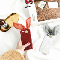 Bunny Ear Bow Diamond  Iphone 7 7Plus &6 6S Plus Cover Case + Nice Gift Box
