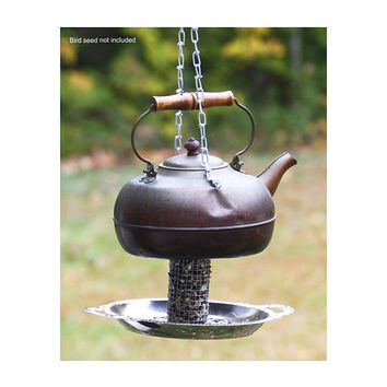 Handmade old copper tea kettle bird feeder - Garden outdoor backyard patio decor - Rustic one-of-a-kind bird-watcher gift - Christmas gift