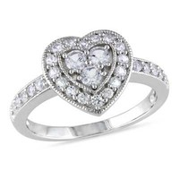 Lab-Created White Sapphire Heart Ring in Sterling Silver - View All Rings - Zales