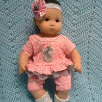 "AMERICAN GIRL Bitty Baby Clothes ""Curiosity"" (15 inch) doll outfit  dress, shorts, booties socks, headband cat kitten butterfly A1"