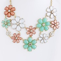 Caroline Jewel Flower Bib Necklace