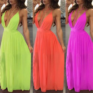 new style chiffon maxi dress 2016 casual straped backless solid 2 colors long dress sleeveless V-neck sexy female clothing TX244