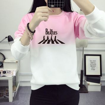 The Beatles Sweatshirts Women Print Hoody Gradient Printed Pullover Woman Print Sweatshirt Women Hoodie O-Neck JBW-21431