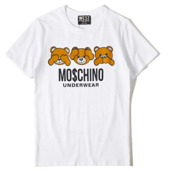 Moschino New three bear letter print couple short-sleeved T-shirt top White