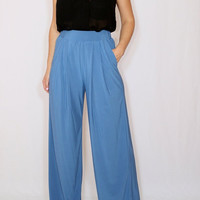 Wide leg pants Denim blue pants with pockets Women trousers