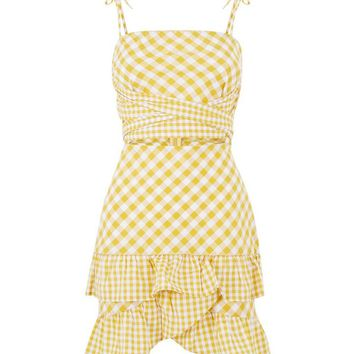 Parisian Yellow Check Print Cross Front Dress | New Look