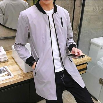 Free Shipping 2017 Autumn Winter Fashion New Men Leisure Long Sleeve Trench Coat  Man's Pure Color Long Dust Coat