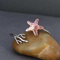 Starfish Coral Cuff, Ocean Jewelry, Silver and Copper, gifts under 50, metalsmithing, Gifts for her, Beach Jewelry, Starfish cuff