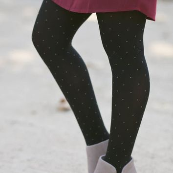Casey Black Polka Dot Tights