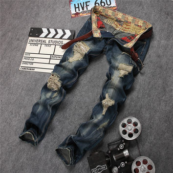 Design Strong Character Ripped Holes Men's Fashion Pants Jeans [6541848067]