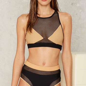 Jaded London Mesh Well Colorblock Bikini Bottom