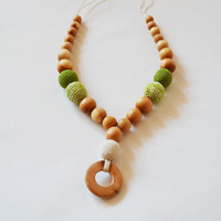 Green Crochet Necklace - Baby Boy Girl Gift - Baby Wooden Teether - Natural Cotton Teether - Montessori Waldorf - Teething Textile Ring Toy