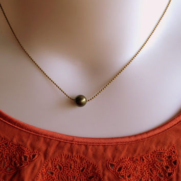 Princess And The Pea - Swarovski Crystal Pearl And Antiqued Diamond Cut Brass Ball Chain Necklace