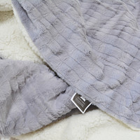 Tache Gray and White Polar Faux Fur with Sherpa Throw Blanket