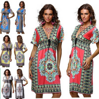 Sexy Beach V-neck Dress Totem Sundress Maxi Loose bohemian Casual dress plus NEW = 1704272772