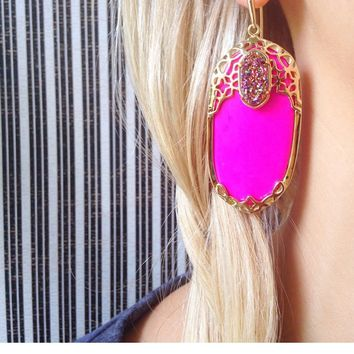 Deva Statement Earrings in Magenta Vibrant - Kendra Scott Jewelry