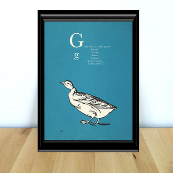 G for Goose, Alphabet Themed Nursery and Home Decor Print {1970s} Vintage Book Page