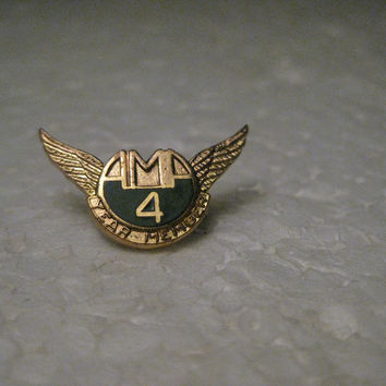 Vintage American Motorcycle Association 4 Year Member Pin, Winged, Gold Tone, Enameled