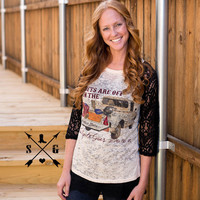 All Bets are Off when the tailgate goes down  Black Lace Raglan