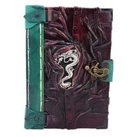 Chinese Dragon Cast On A Large Purple Leather Journal / Notebook / Diary / Sketchbook / Leatherbound