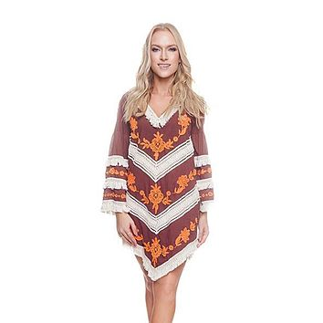 Brownie New Tribal Tunic Cover-up Dress