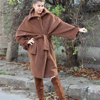 BROWN Handmade Oversized Maxi Woman Winter Chic Soft Elegant Fall - Winter Coat