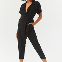Plunging Surplice Dolman Sleeve Jumpsuit