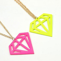 Sweet long neon diamond shaped charm necklaces (pink and yellow)
