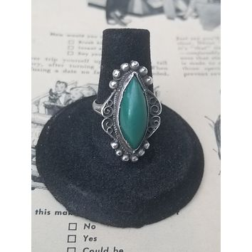 Mexican signed vintage sterling silver turquoise ring size 8