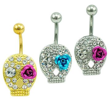 Brand New Fashion Belly Button Rings Stainless Steel Barbells White Rhinestone Skull Face With Rose Navel Piercing Jewelry
