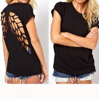 Fengbay Women's Back Laser Engraving Hollow Angel Wings Short Sleeve T-Shirt