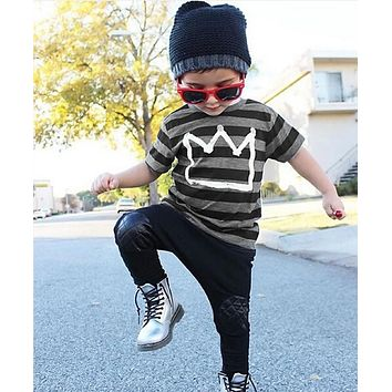 Fashion Baby Boys Clothes 2016 New Kids Boy Crown Top Shirt Striped T-Shirt and Pant 2pcs Outfit Children Set