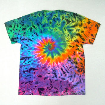 Tie Dye Shirt- XL Rainbow Galaxy Spiral with black