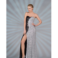 Black & Silver Sequin Strapless Prom Gown