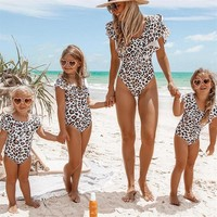 Leopard Print Frill Mom Daughter Matching Swimwear