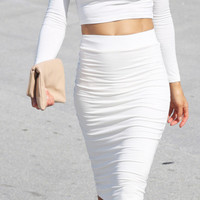White Skinny Midi Skirt