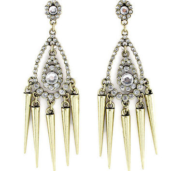 Retro Gold Diamond Spike Tassel Gauges Plugs Dangles Earrings