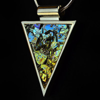 Bismuth Metal Crystal Triangle, Custom Order, in a Silver or Copper Plated Bezel on a Matching Chain or Leather Cord, Fractal Jewelry