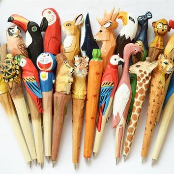 Free 10pcs/lot Wooden craft pen Classic wooden animals pen hot sell Hand-carved wooden pens Creative stationery ballpoint pen