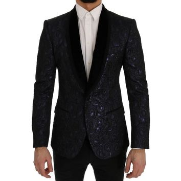 Dolce & Gabbana Blue Black Jacquard Slim Fit Blazer Jacket