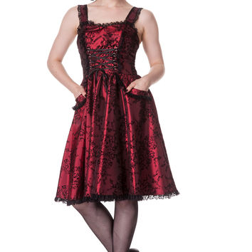 Gothic Bloody Merry Flocked Taffeta Corset Steampunk Dark Wine Red Cocktail Dress