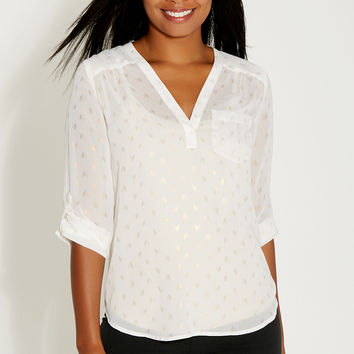 the perfect blouse with goldtone metallic print