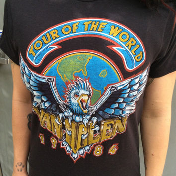 Van Halen Tour Of The World 1984 Vintage T Shirt medium womens